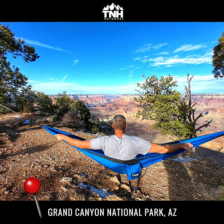 TNH Outdoors #1 Premium Double Camping Hammock By Premium Quality Hammock - Strongest 9ft Straps With 30 Multi Hitch Points