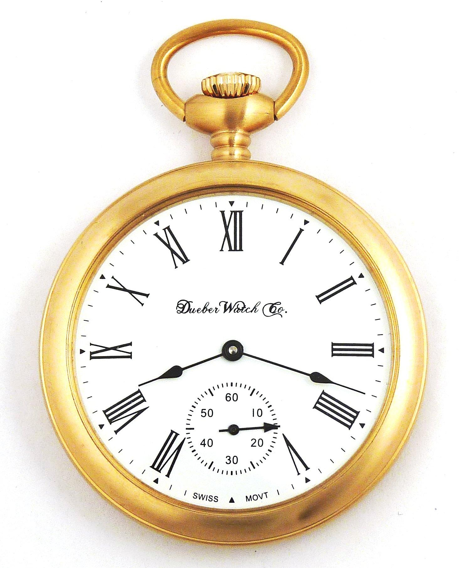 Dueber Swiss Mechanical Pocket Watch, Satin Gold Open Face Case, Assembled in USA!
