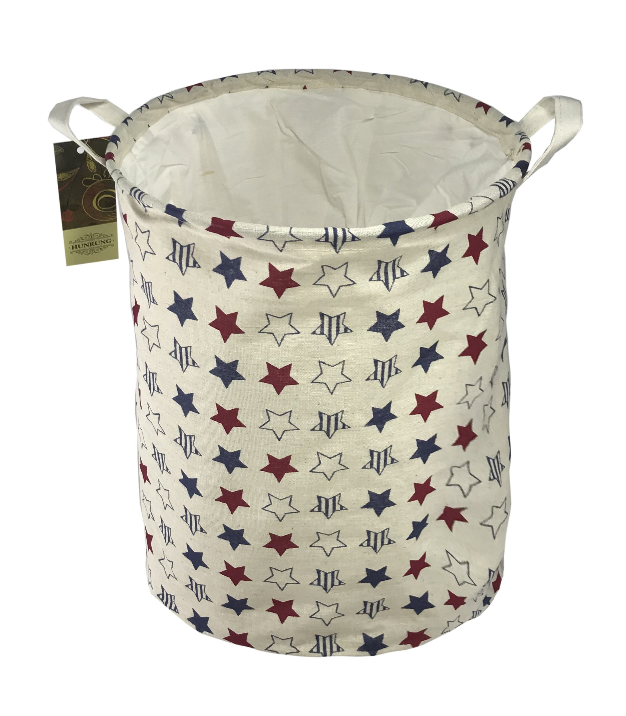 HUNRUNG Large Canvas Fabric Lightweight Drawstring Storage Basket/Toy Organizer/Dirty clothes Collapsible Waterproof for College Dorms, Kids Bedroom,Bathroom,Laundry Hamper(Drawsting star)