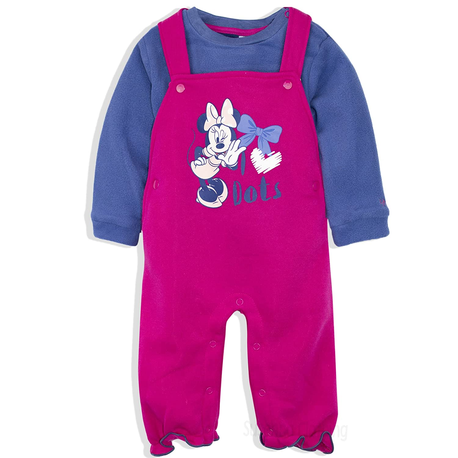 Disney Minnie Mouse Baby Girls Warm Outfit Set Dungarees + Long Sleeve Top Jumper 0-24 Months - New 2017/18 24260_118985