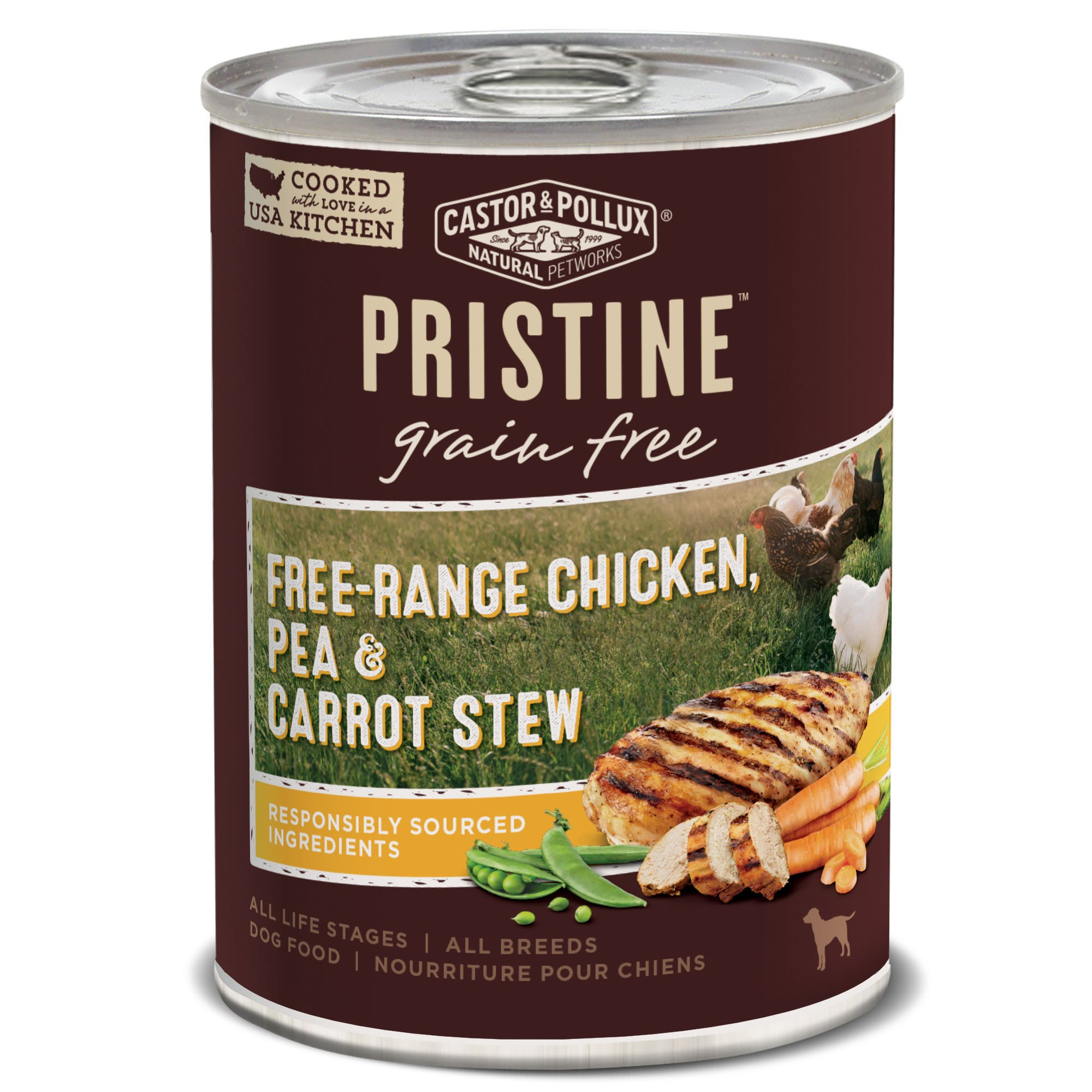 Castor & Pollux Pristine Free-Range Chicken Pea & Carrot Stew Wet Dog Food 12.7 Oz, 12 Count Case by Castor & Pollux