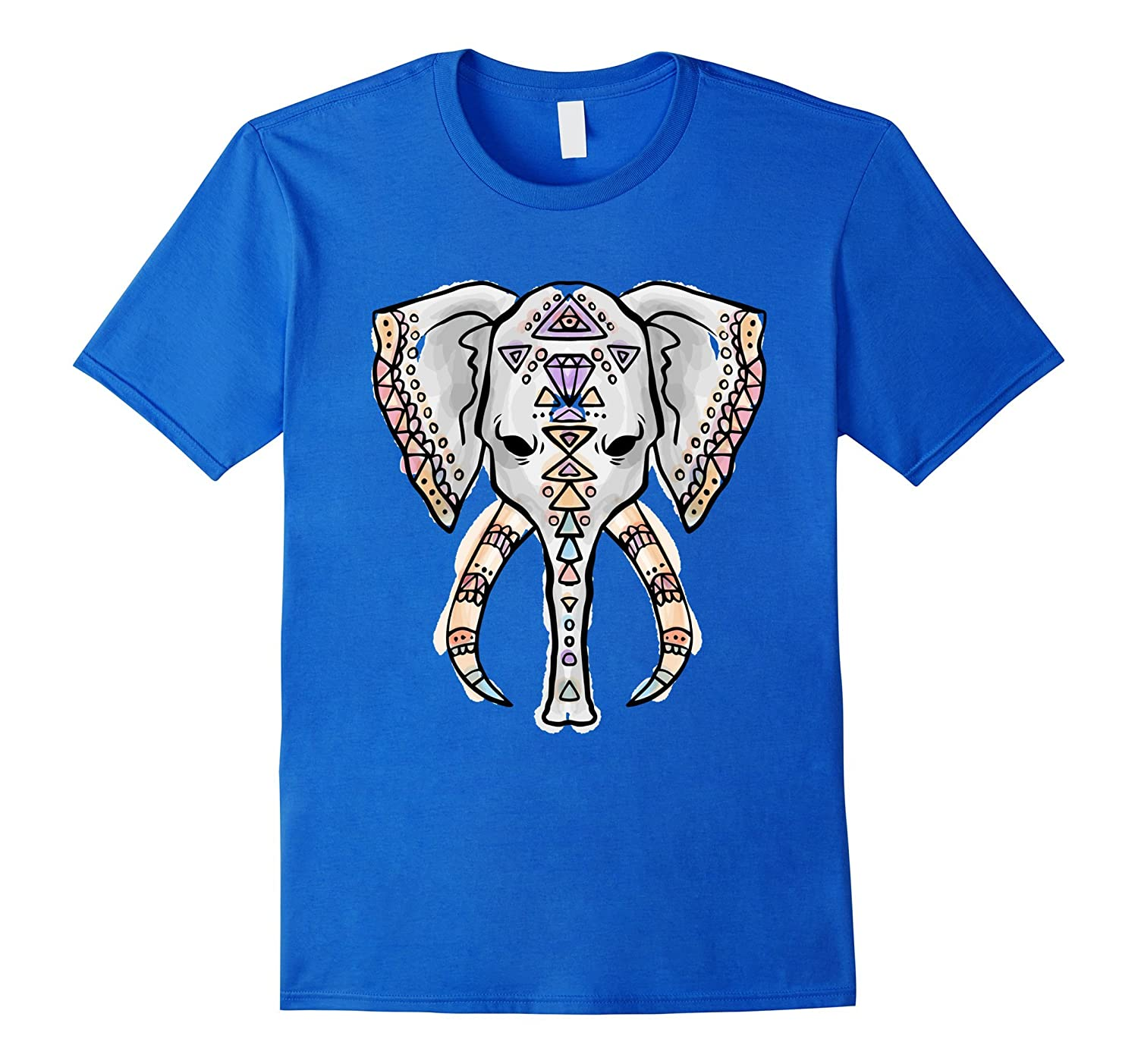 Ethnic Decorative Boho Style Elephant Head T-Shirt-AZP