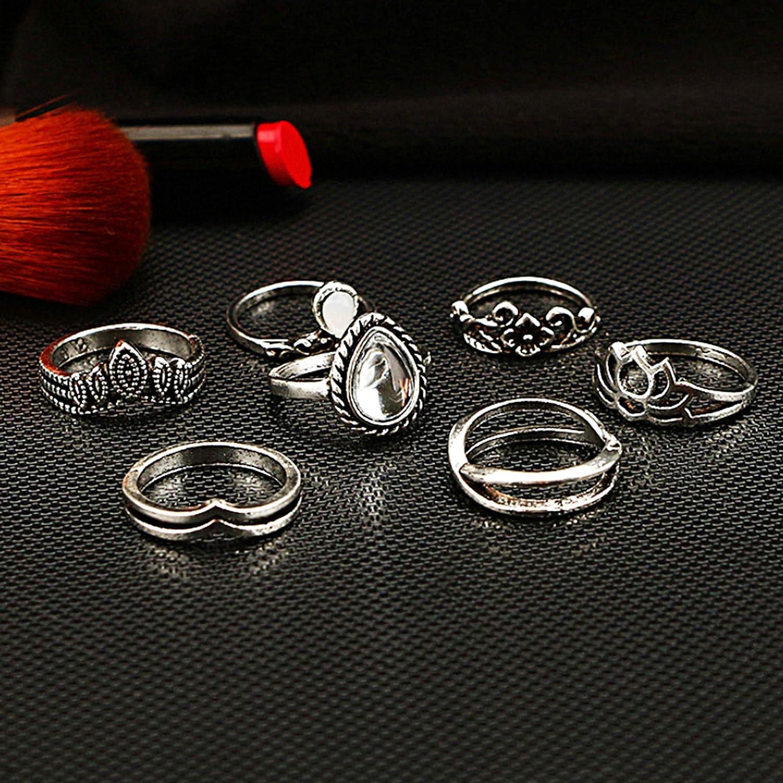 Milacolato 132PCS Bague Bluckle Set pour Les Femmes Creux Silver Fashion Midi bagues Vintage empilable Knuckle Midi bagues Ensemble