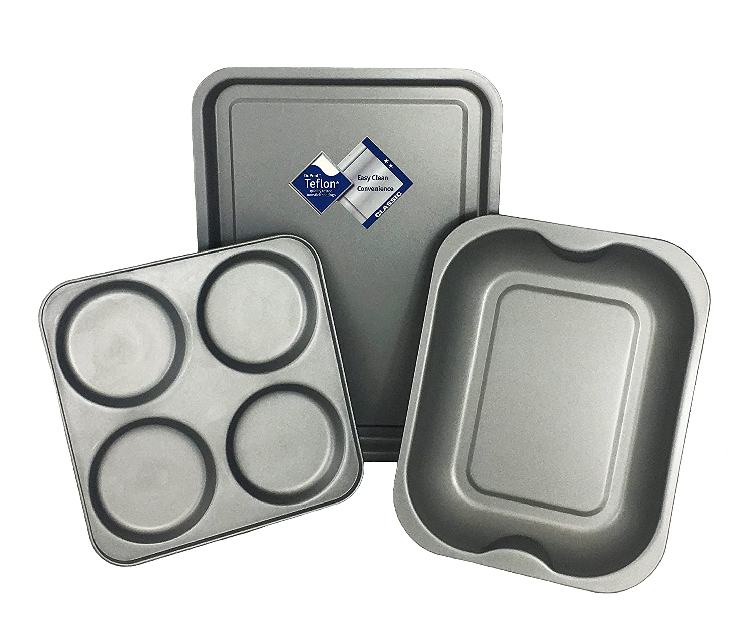 3 Piece Teflon Classic Non Stick Roasting Set (1 x Roasting Pan, 1 x Baking Tray & 1 x Yorkshire Pudding Tray) by Lets Cook Cookware