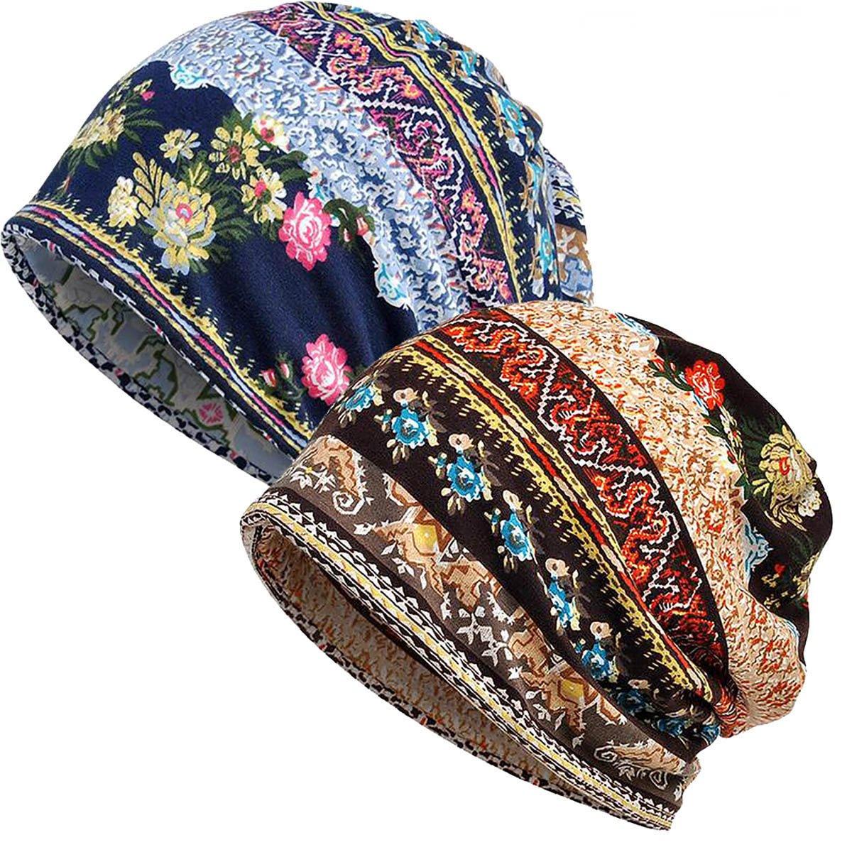 WELROG Women Turban Headwear Chemo Hat - 100% Cotton Elastic Thin Cancer Cap for Women Retro Beanies Bucket