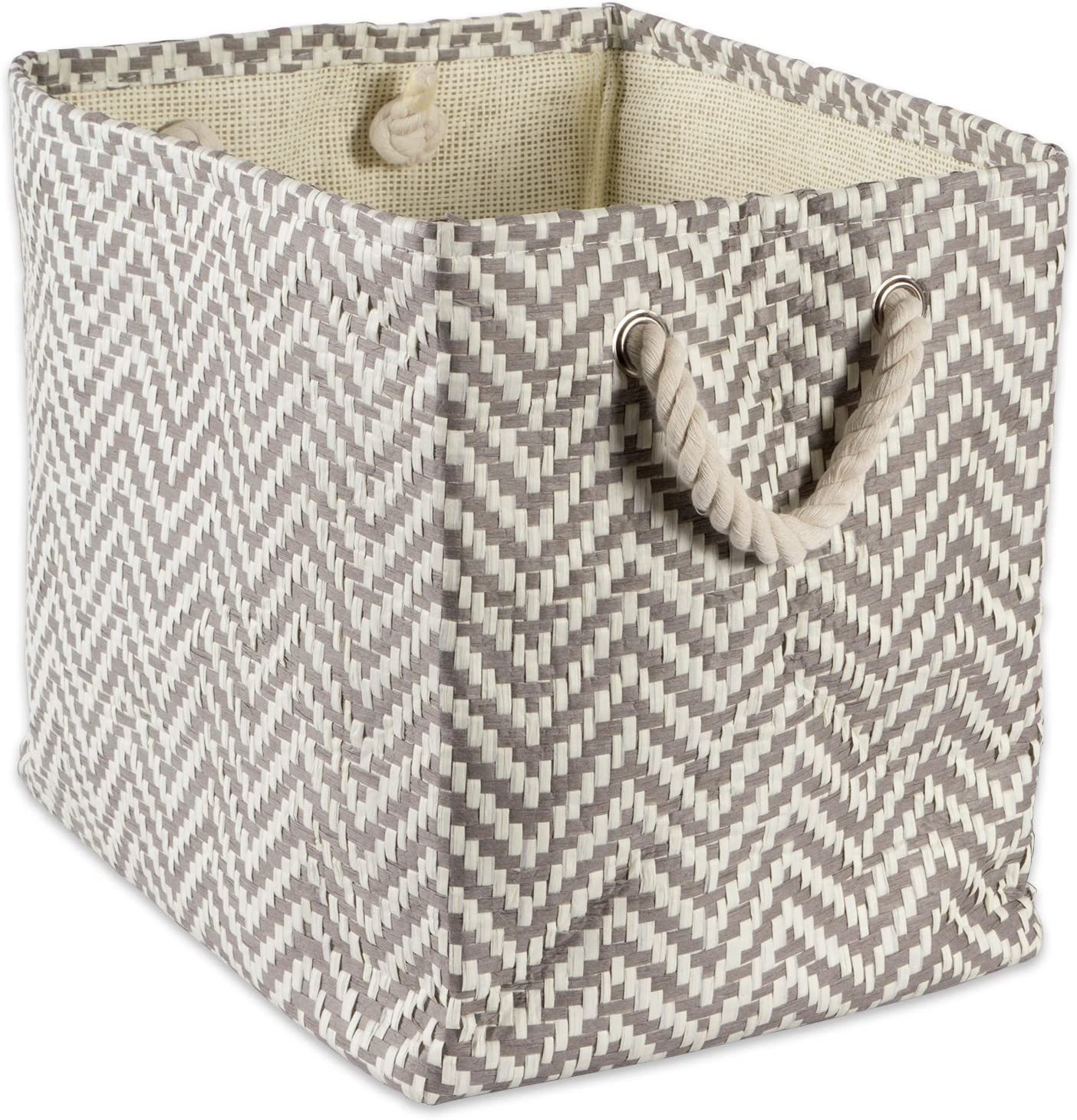 """DII Woven Paper Storage Basket or Bin, Collapsible & Convenient Home Organization Solution for Office, Bedroom, Closet, Toys, & Laundry (Large – 17x12x12""""), Gray Chevron"""