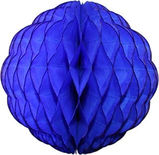 product image for 3-Pack 8 Inch Honeycomb Scalloped Tissue Ball Party Decoration (Dark Blue)