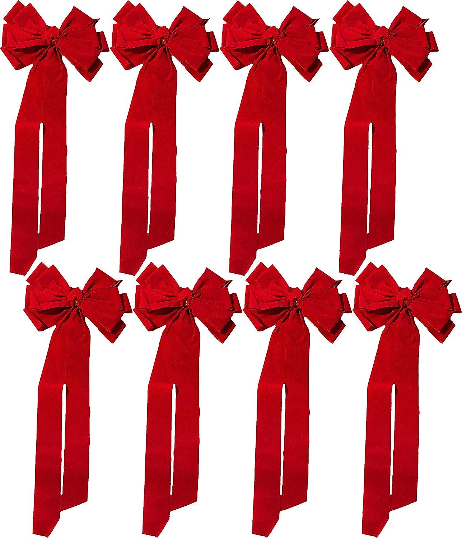 2 Red Velvet Bows FLOMO Christmas Holiday Large Red Velvet Bows 29 Long 12.75 Wide