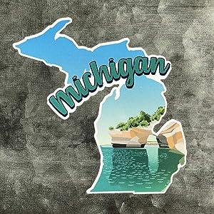 Nudge Nudge Printing Michigan Sticker Decal Pictured Rocks Car Vinyl Window Bumper Laptop Sticker - Made in Michigan
