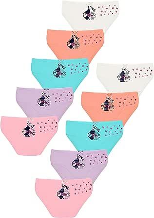 LOREZA ® 10 Braguitas de algodón para niña - Material cómodo y Suave - con Diferentes Motivos - Disponibles en Tallas de 1 a 13 años - Pack de 10 Unidades