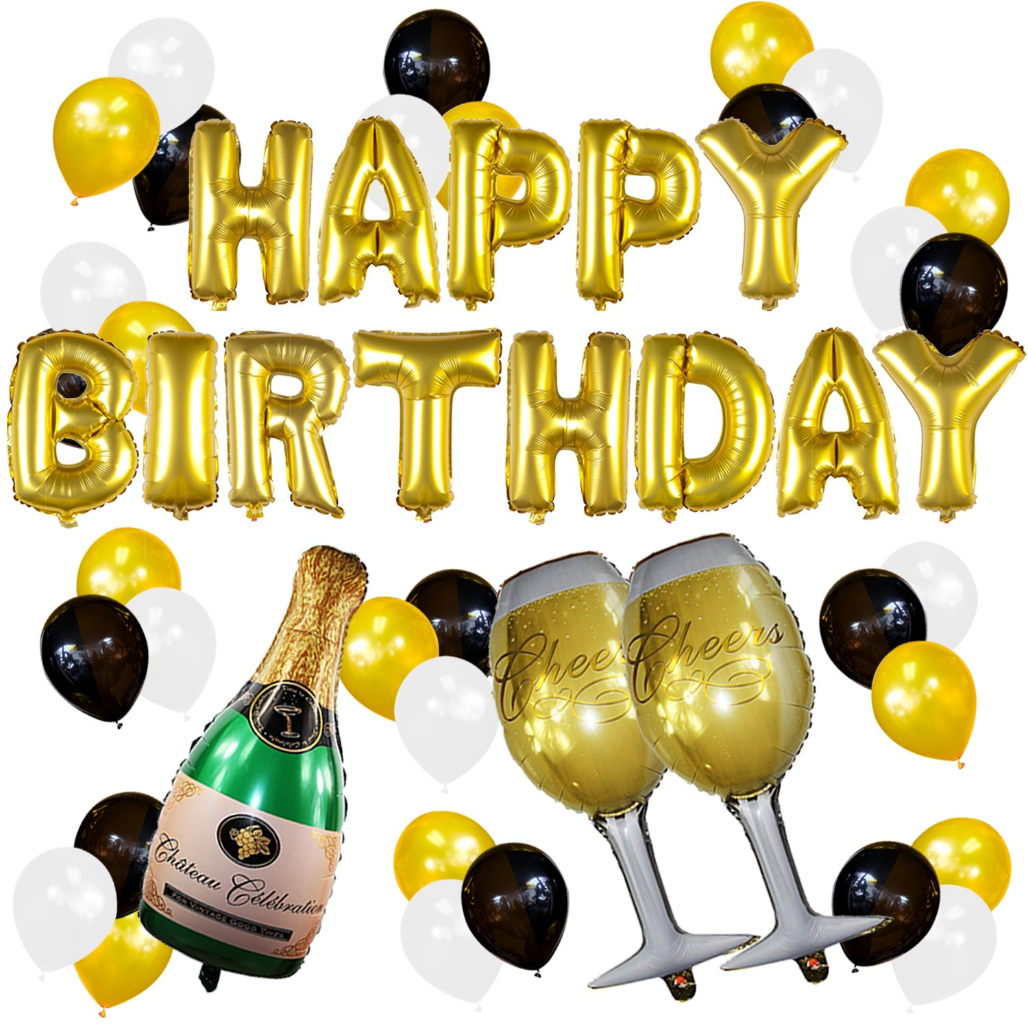 Sterling James Co. Gold Birthday and Champagne Balloon Set - Birthday Party Decorations - 21st - 30th - 40th - 50th - Funny Birthday Party Supplies Sterling James Company