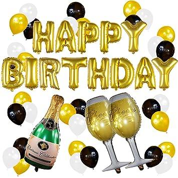 Conjunto de Globos Dorados de Cumpleaños y Champagne – Decoraciones de Fiesta