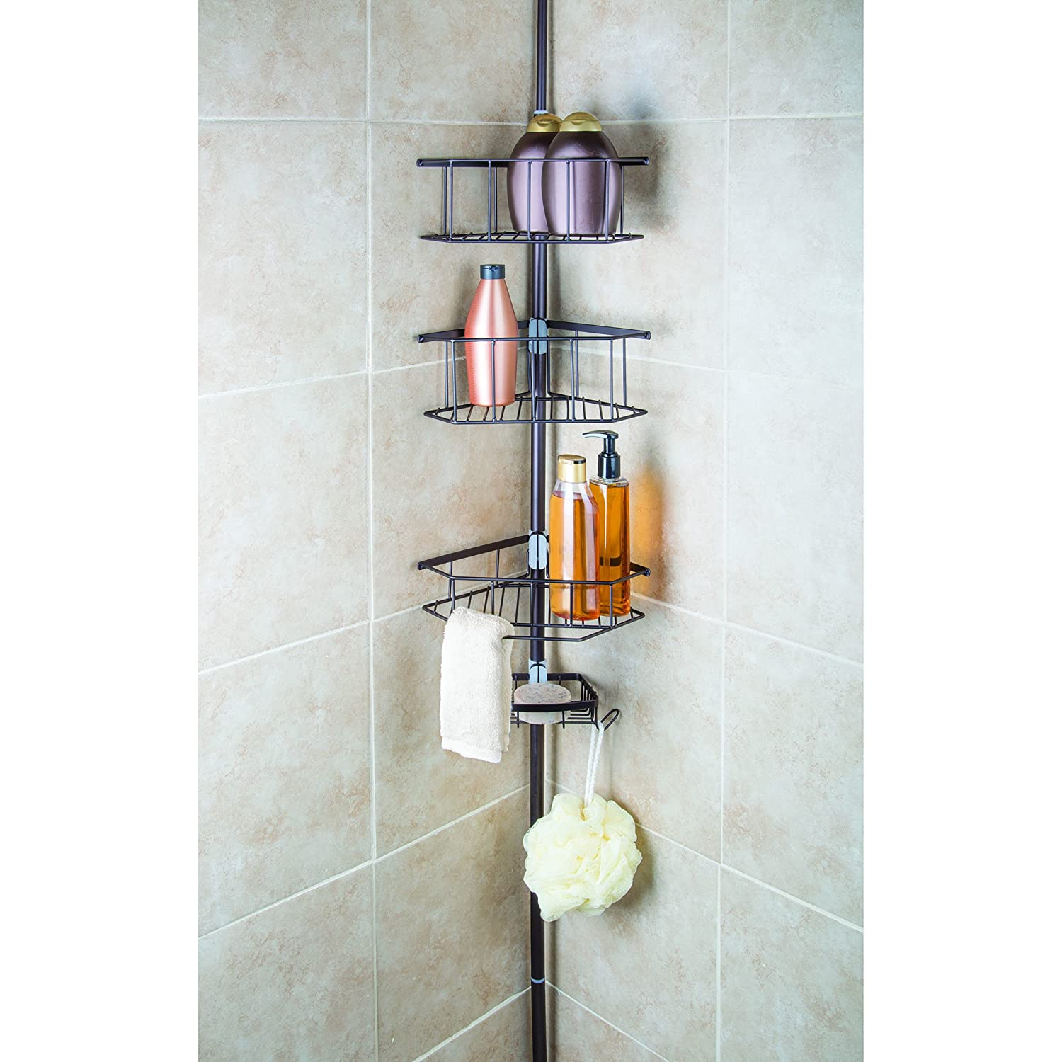 amazoncom homecrate three tier corner tension pole shower caddy 9ft height with soap dish home u0026 kitchen