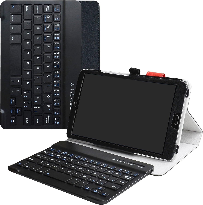 LiuShan MediaPad M5 8.4 Bluetooth Teclado Funda, Detachable Wireless Bluetooth Teclado (Teclado QWERTY Formato inglés) PU Cuero con Soporte Caso para 8.4