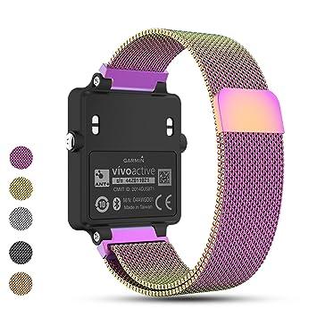 iFeeker - Correa de Repuesto para Reloj Inteligente Garmin Vivoactive Acetate de Metal, 20 mm