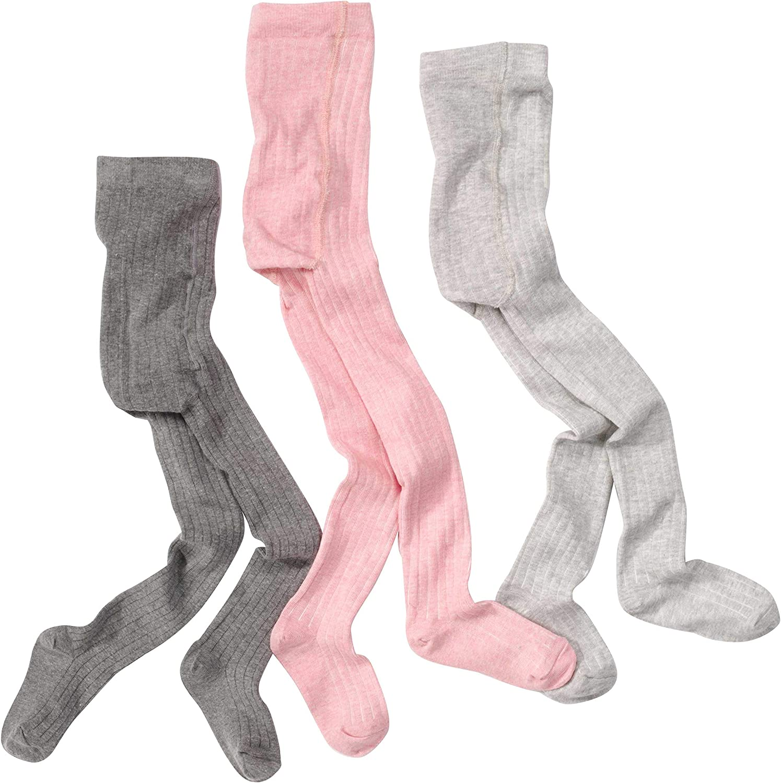 WELLYOU leotardos para bebés/niños, medias para niñas, pantimedias para bebés/niñas, conjunto de 3 color gris y rosa. Tallas 62-146