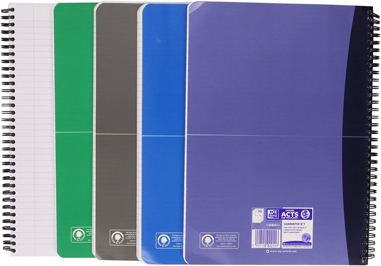 Lot de 5 Oxford 100105406/- Bloc /à spirale Multicolore