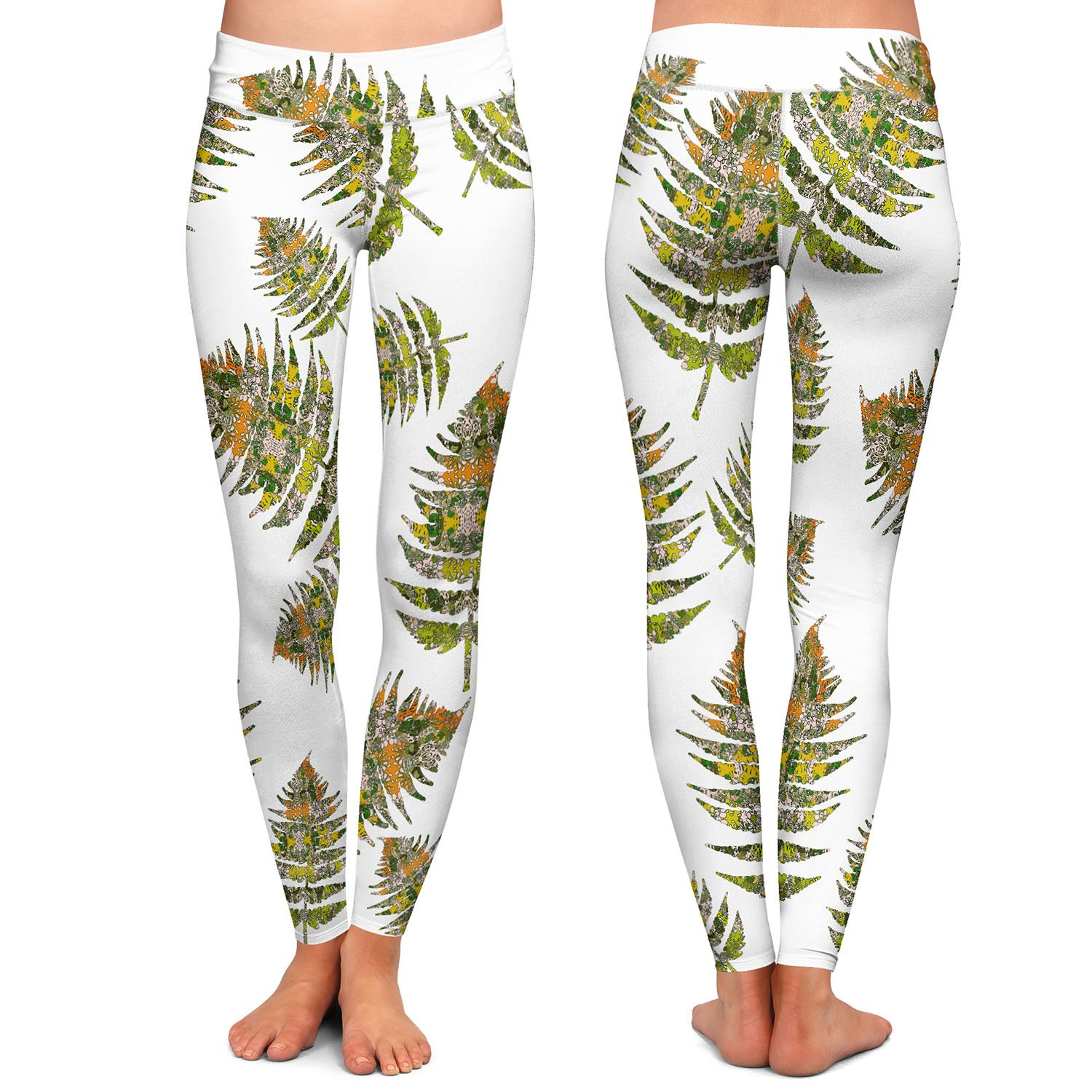 Fern 2 Greens Athletic Yoga Leggings from DiaNoche Designs by Susie Kunzelman