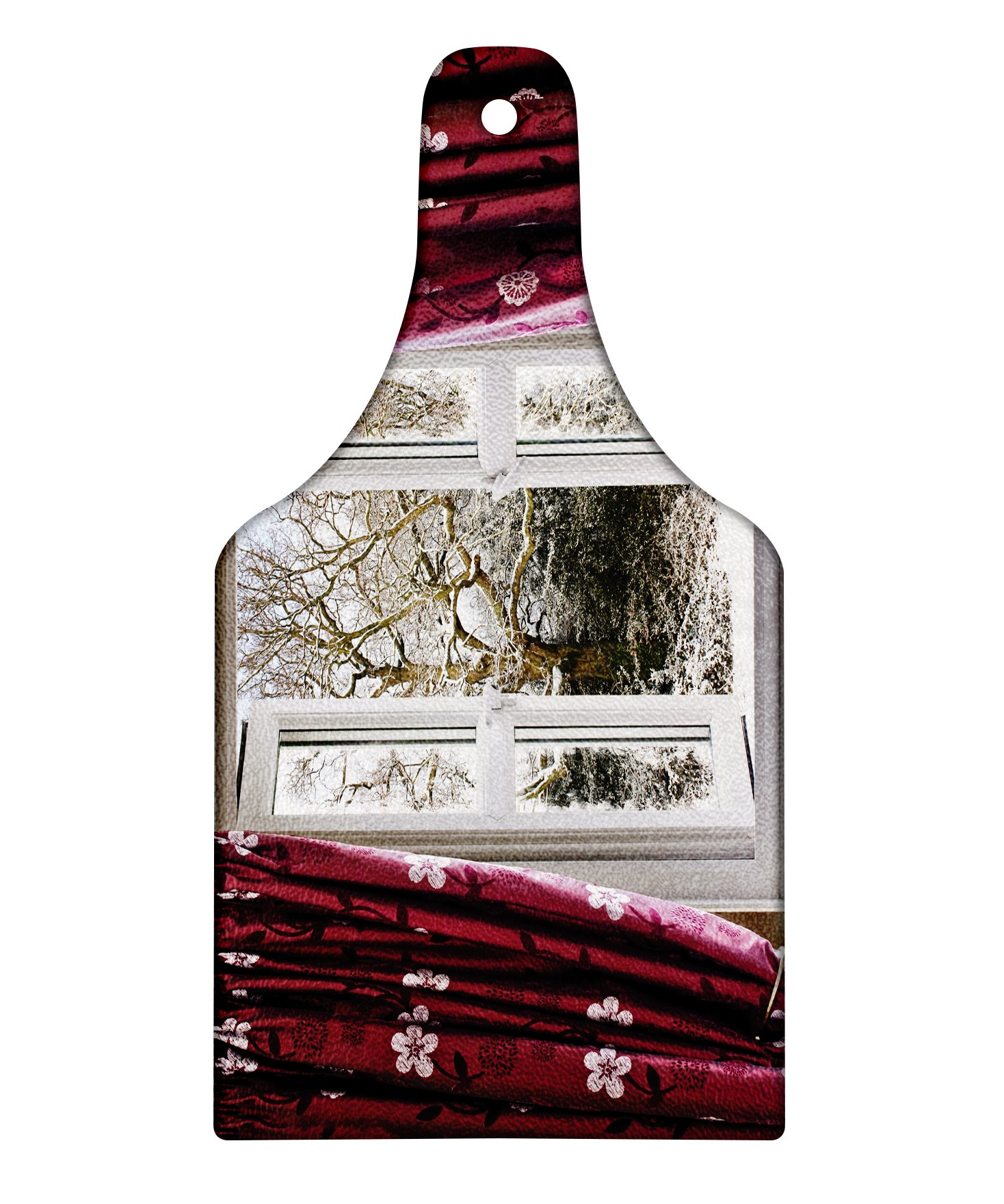 Lunarable Winter Cutting Board, Open Window with View to a Snowy Winter Scenery Pattern Curtain Drapes Frosty, Decorative Tempered Glass Cutting and Serving Board, Wine Bottle Shape, Maroon White