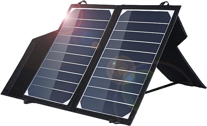 EleGeek Cargador de Panel Solar portátil de 10 W de Alta eficiencia, con Soporte Ajustable
