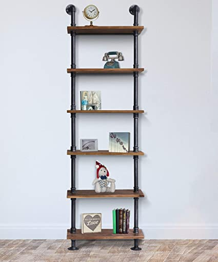 7663885d1b2 Amazon.com  Diwhy Industrial Rustic Modern Wood Ladder Pipe Wall Shelf 6  Layer Pipe Design Bookshelf DIY Shelving  Kitchen   Dining