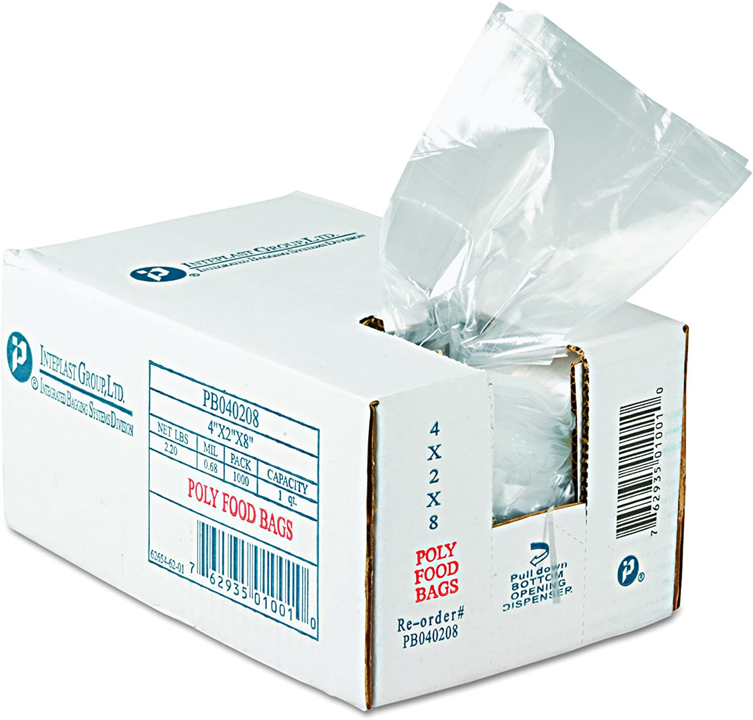 "Inteplast PB040208 1 pt Capacity, 8"" Length x 4"" Width x 2"" Gusset, Food and Utility Poly Bag (Case of 1000)"