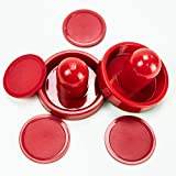 HUJI Set of Air Hockey Game Table Accessory Two Hockey Pushers Goalies and four Pucks (1)