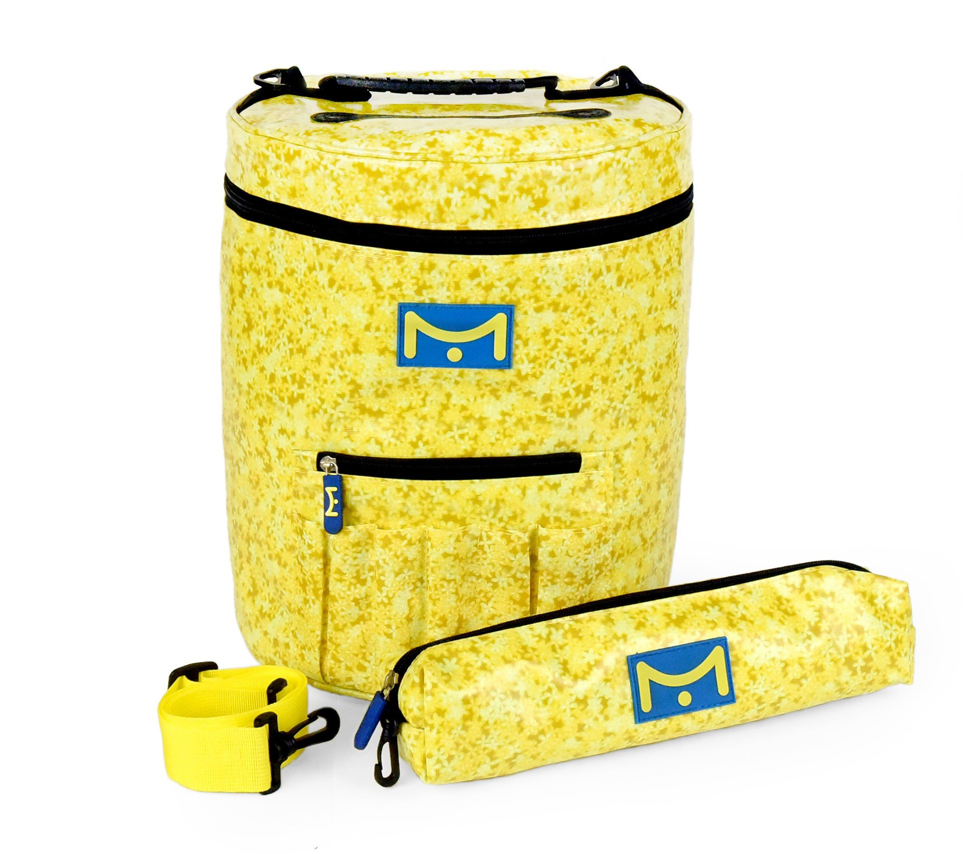 Mira HandCrafts Large Knitting Bag for Ultimate Yarn Storage | Crochet Yarn Holder with Multiple Pockets, Slits on Top and 1 Extra Yarn Organizer for Your Knitting Accessories(Yellow)