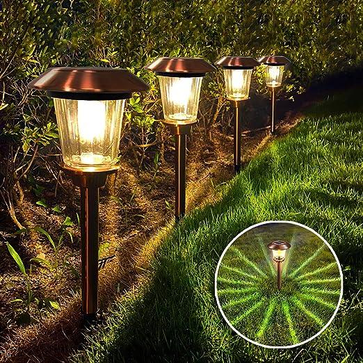 SEFON Luz Solar Elegante al Aire Libre para Jardín Patio Terraza Camino Césped, Lámpara para Regalo IP65 Impermeable de Acero Inoxidable para Exterior, 4 Piezas: Amazon.es: Iluminación