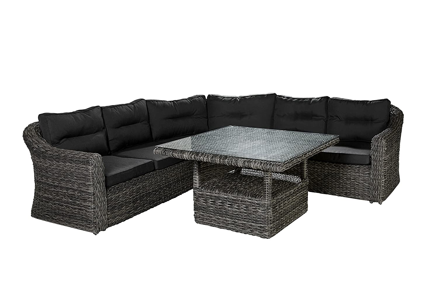 essgruppe essecke gartensitzgruppe speiselounge esstisch mit eckbank dining set alu polyrattan. Black Bedroom Furniture Sets. Home Design Ideas