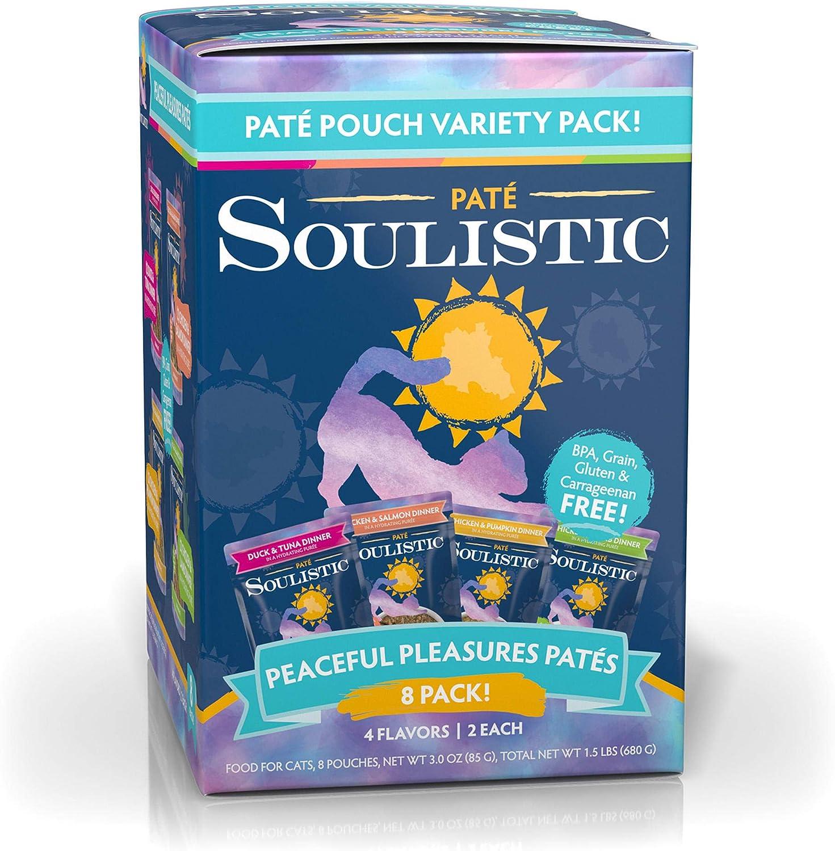 Soulistic Pate Peaceful Pleasures Variety Pack Wet Cat Food, 3 oz., Count of 8