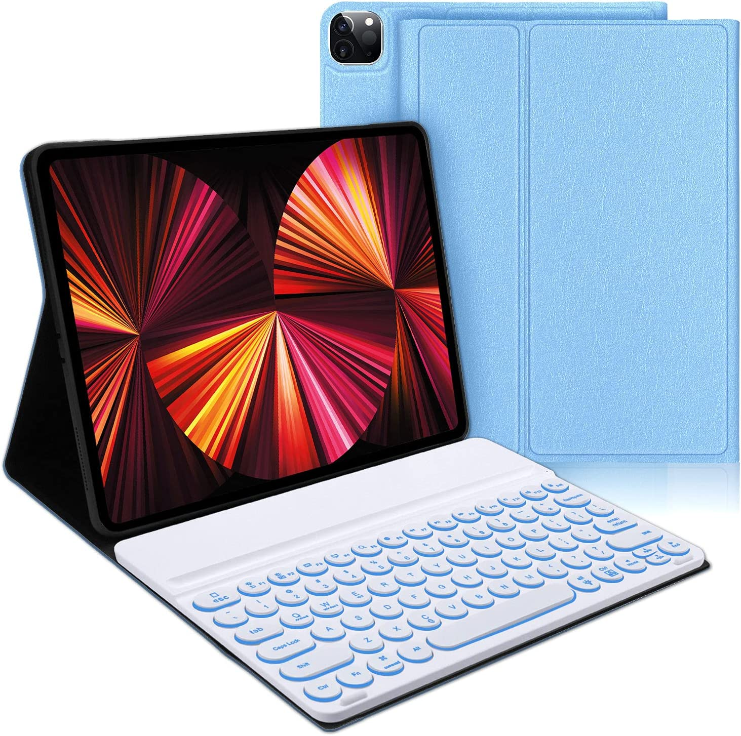 iPad Pro 2021 12.9 Case with Keyboard, Compatible with iPad Pro 12.9 inch 5th / 4th / 3rd Generation - 7 Color Backlit, Wireless Detachable Keyboard - Smart Folio Case for iPad Pro 12.9, Blue
