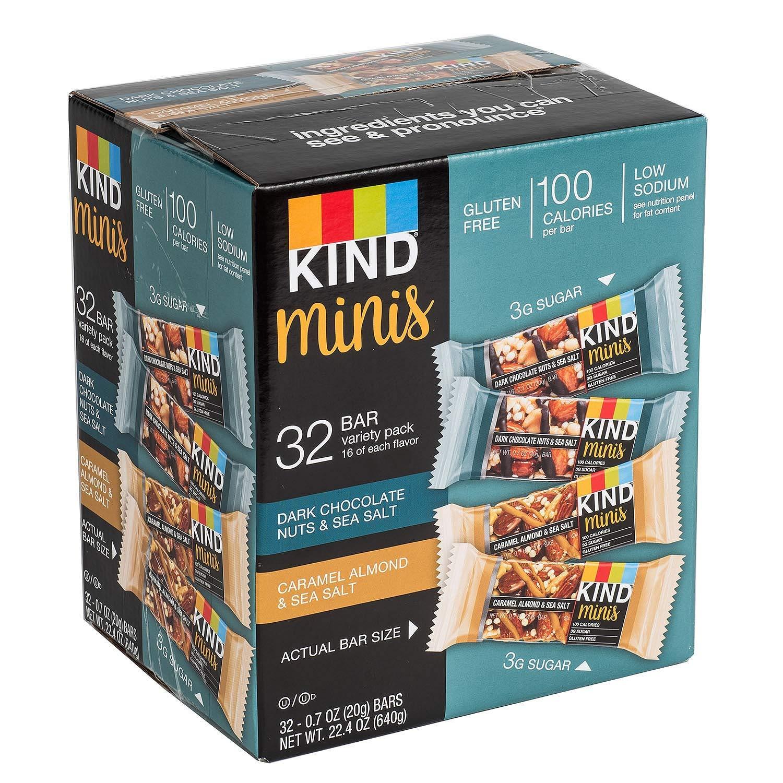 KIND Bar Dark Chocolate Nuts & Sea Salt; Caramel Almond & Sea Salt Gluten Free, Low Sugar Minis Variety Pack,