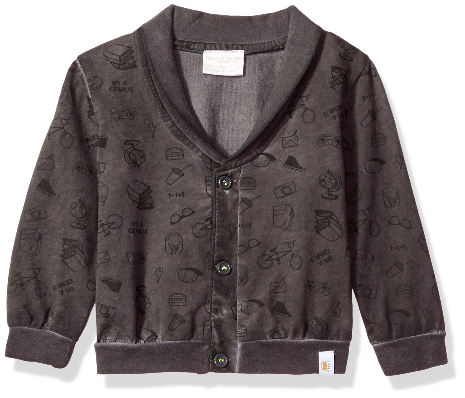 Rosie Pope Baby Boys Garment Dyed Cardigan, Black, 12M by Rosie Pope