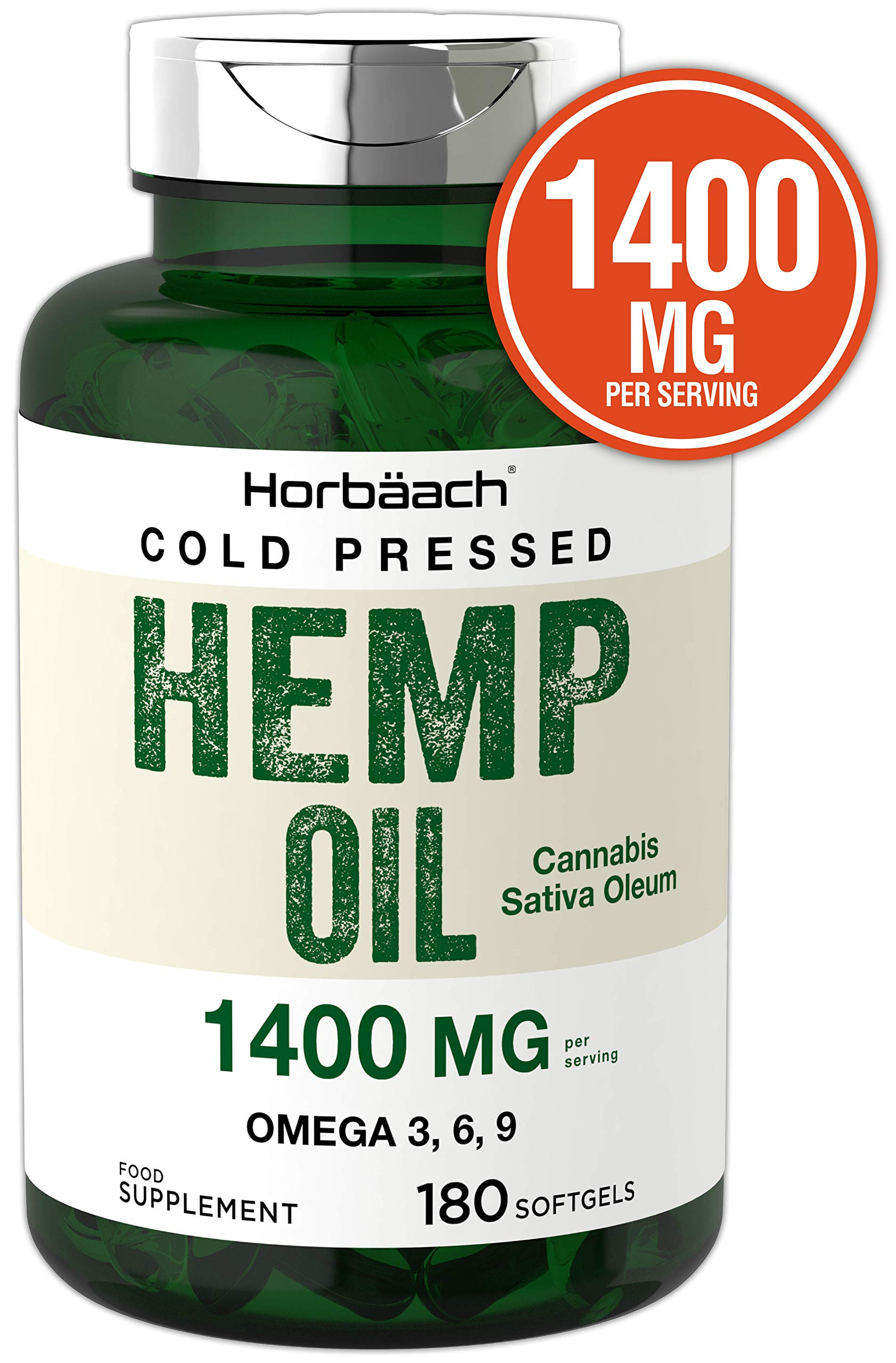 Hemp Seed Oil Capsules 1400 mg 180 Softgels | High Strength | Cold Pressed | Natural Source of Omega 3, 6, and 9 | by Horbaach