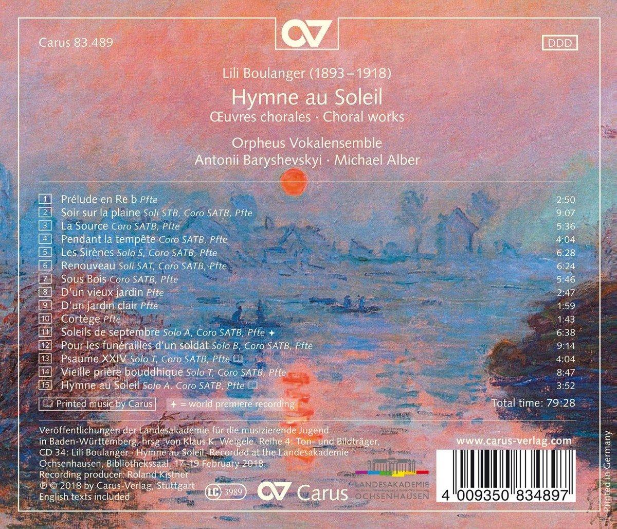Boulanger: Hymne au Soleil - Chorwerke - Michael Alber, Orpheus ...