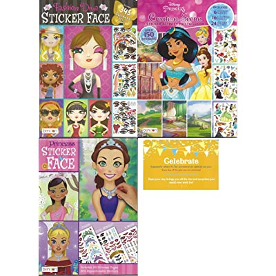 Create a Face Bundle Princess. Inlcludes 1 Princess Sticker Face, 1 Fashion Diva Sticker Faces, 1 Disney Princess Create a Scene and 1 Celebrate Post Card: Toys & Games