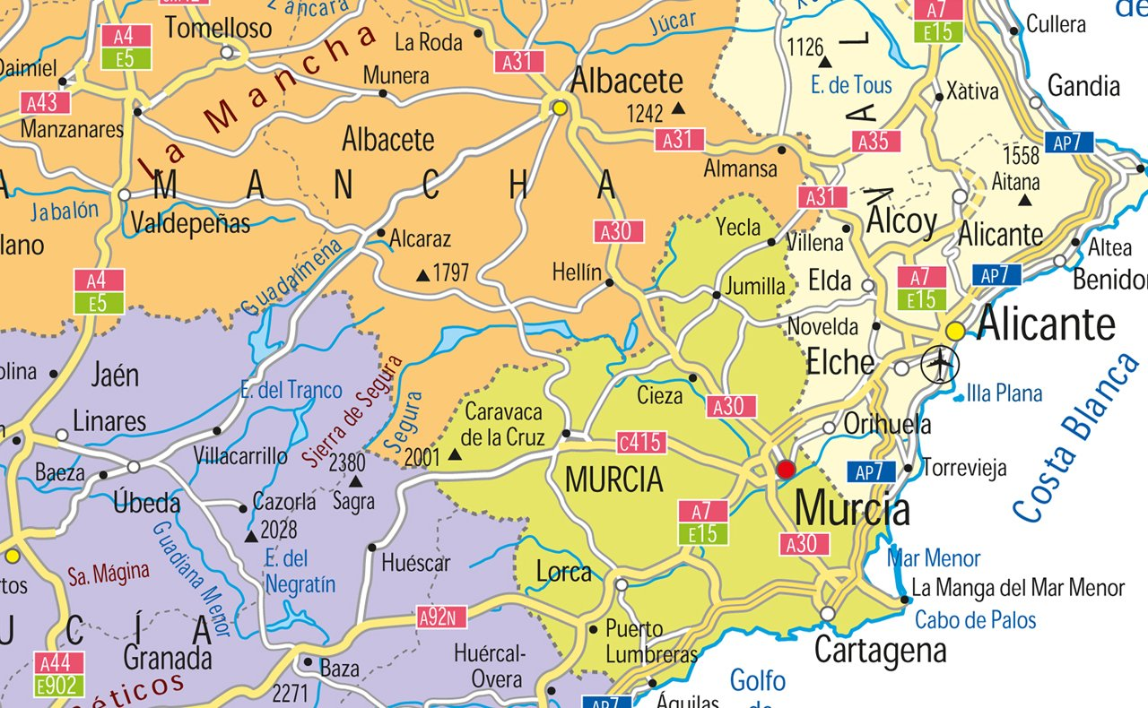 España mapa político - Vinilo - A1 tamaño 59,4 x 84,1 cm ...