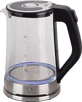 Jata Hervidor de agua HA1037 - Jarra de borosilicato, Capacidad 1,7 l, Rápido, Fácil limpieza, Resistencia oculta, Base y placa calefactora de acero ...
