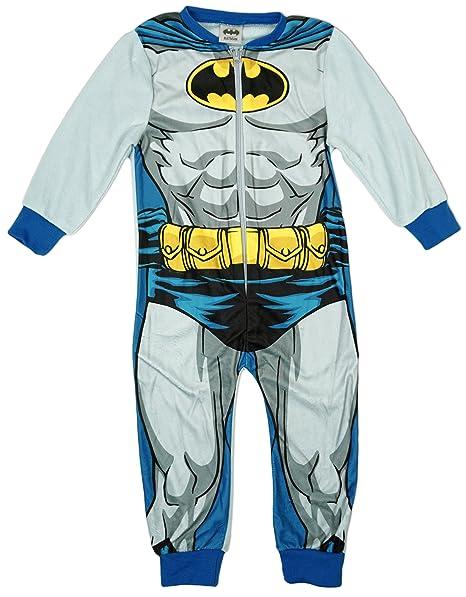 BATMAN Niños Cuerpo Musculoso Microfleece Pijama Enterizo todo en un pelele tallas desde 2 a 8 Años - Gris, 7-8 Years: Amazon.es: Ropa y accesorios