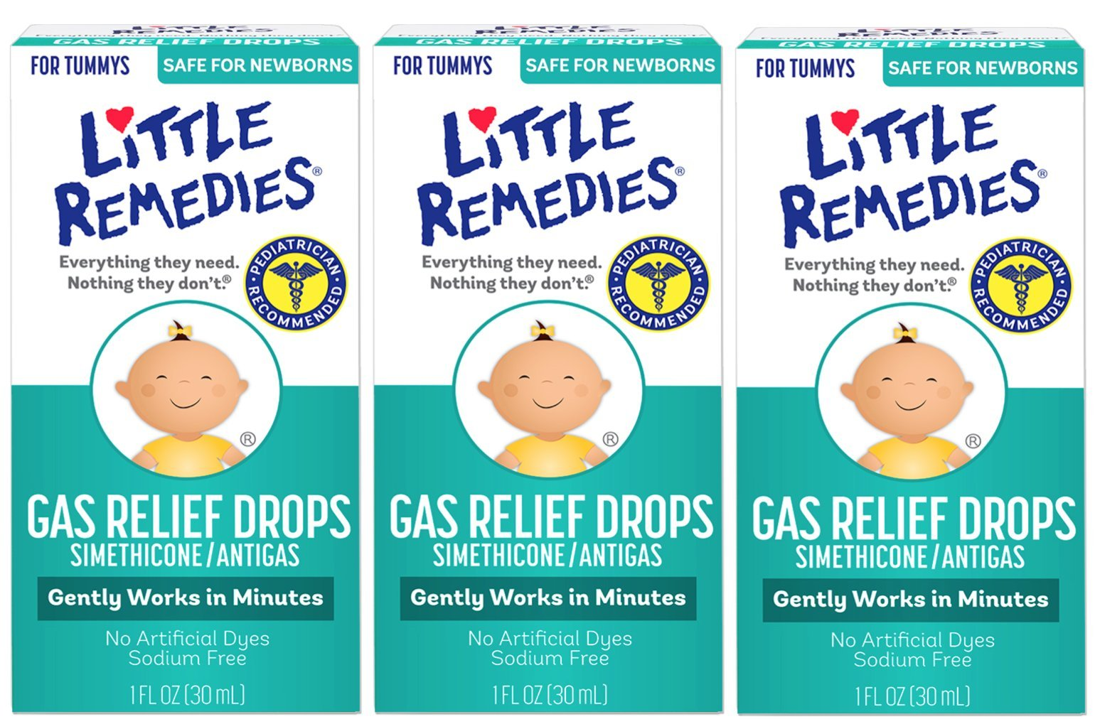 Little Remedies Gas Relief Drops | Berry Flavor | Safe For Newborns | 1 FL OZ | 3 Pack by Little Remedies