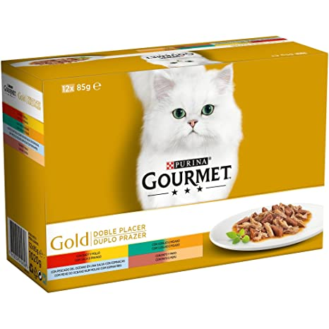 Purina Gourmet Gold Doble Placer comida para gatos Surtido sabores 8 x [12 x 85