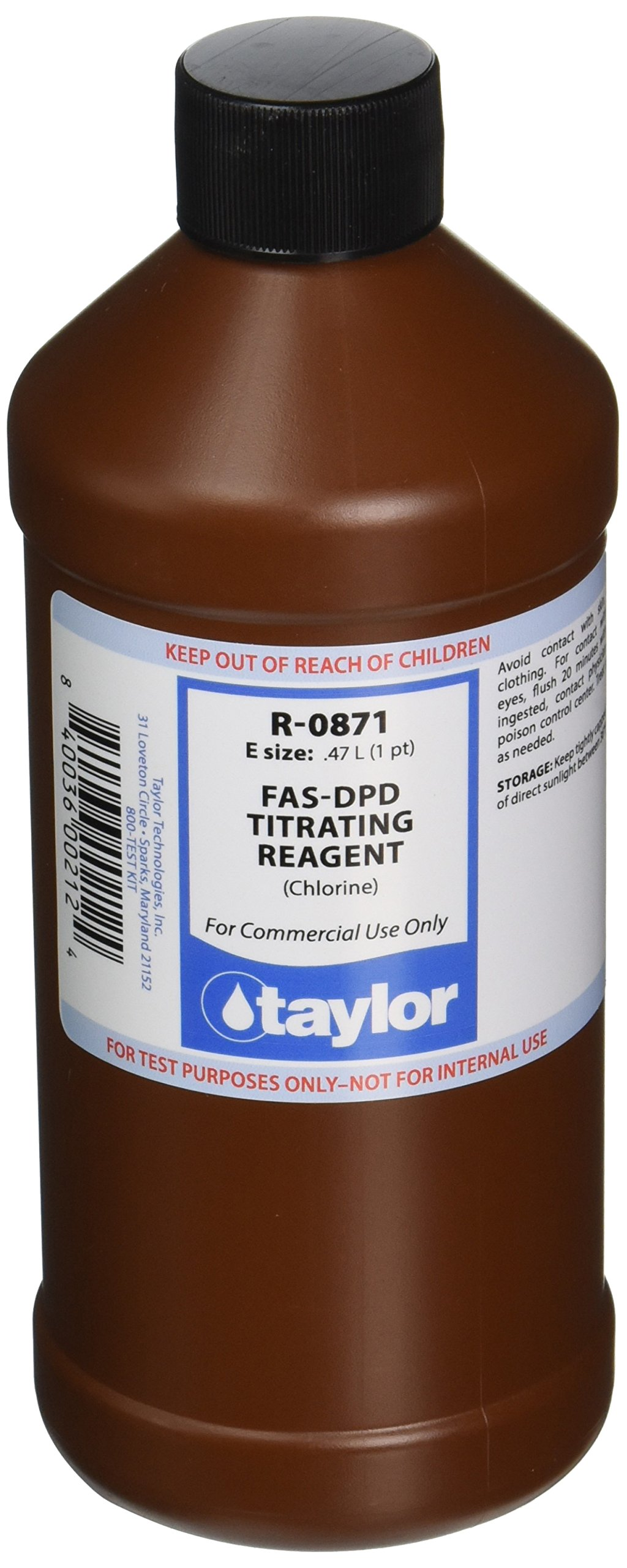 TAYLOR TECHNOLOGIES INC R-0871-E FAS-DPD TITRATING 16 OZ by TAYLOR TECHNOLOGIES INC