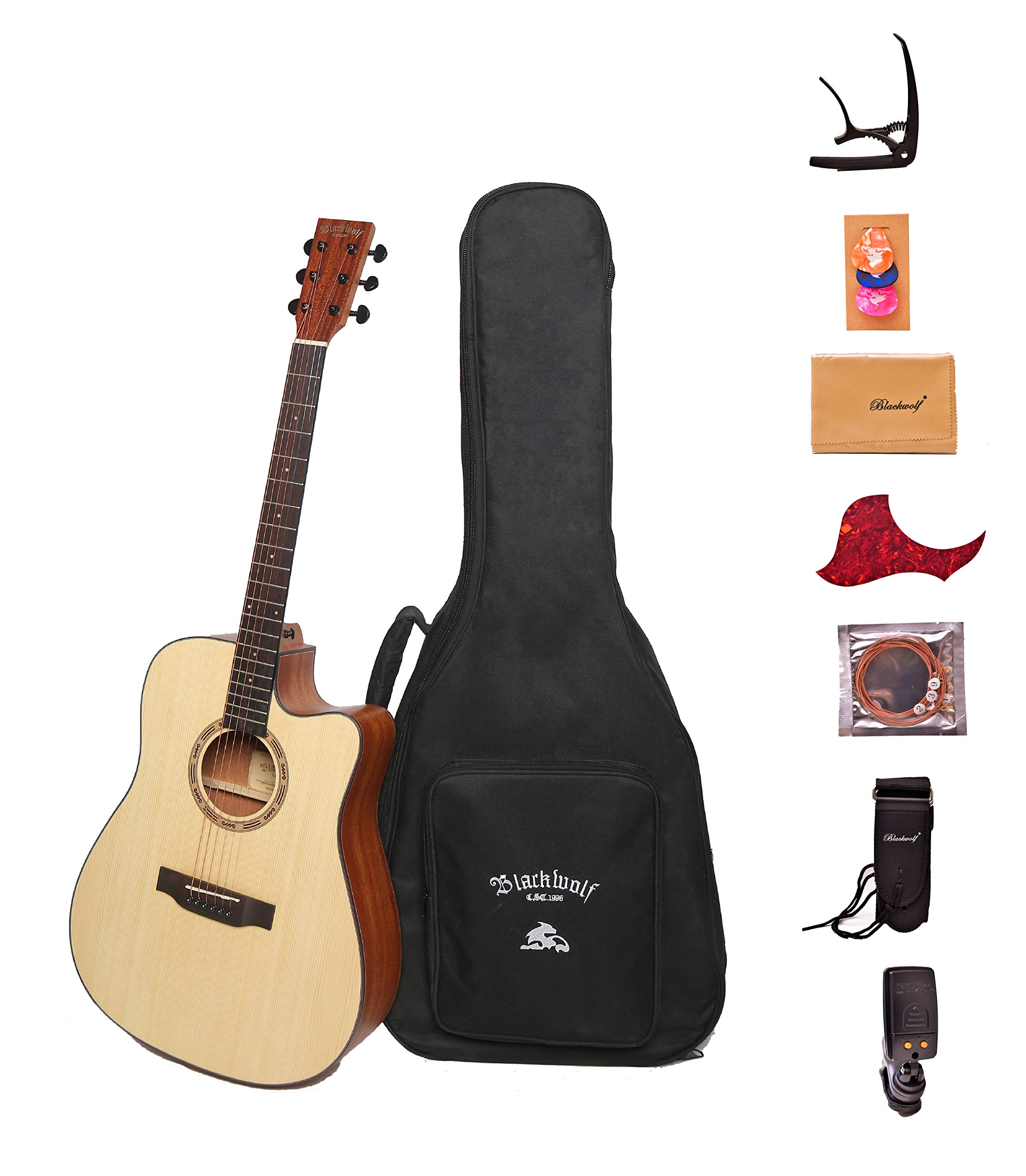 Black Wolf Beginners Acoustic Guitar 41'' Natural Color Cutaway Bundle with Gig Bag, Tuner, Capo,Strings, Strap, Picks and Polishing Cloth S1 by blackwolf