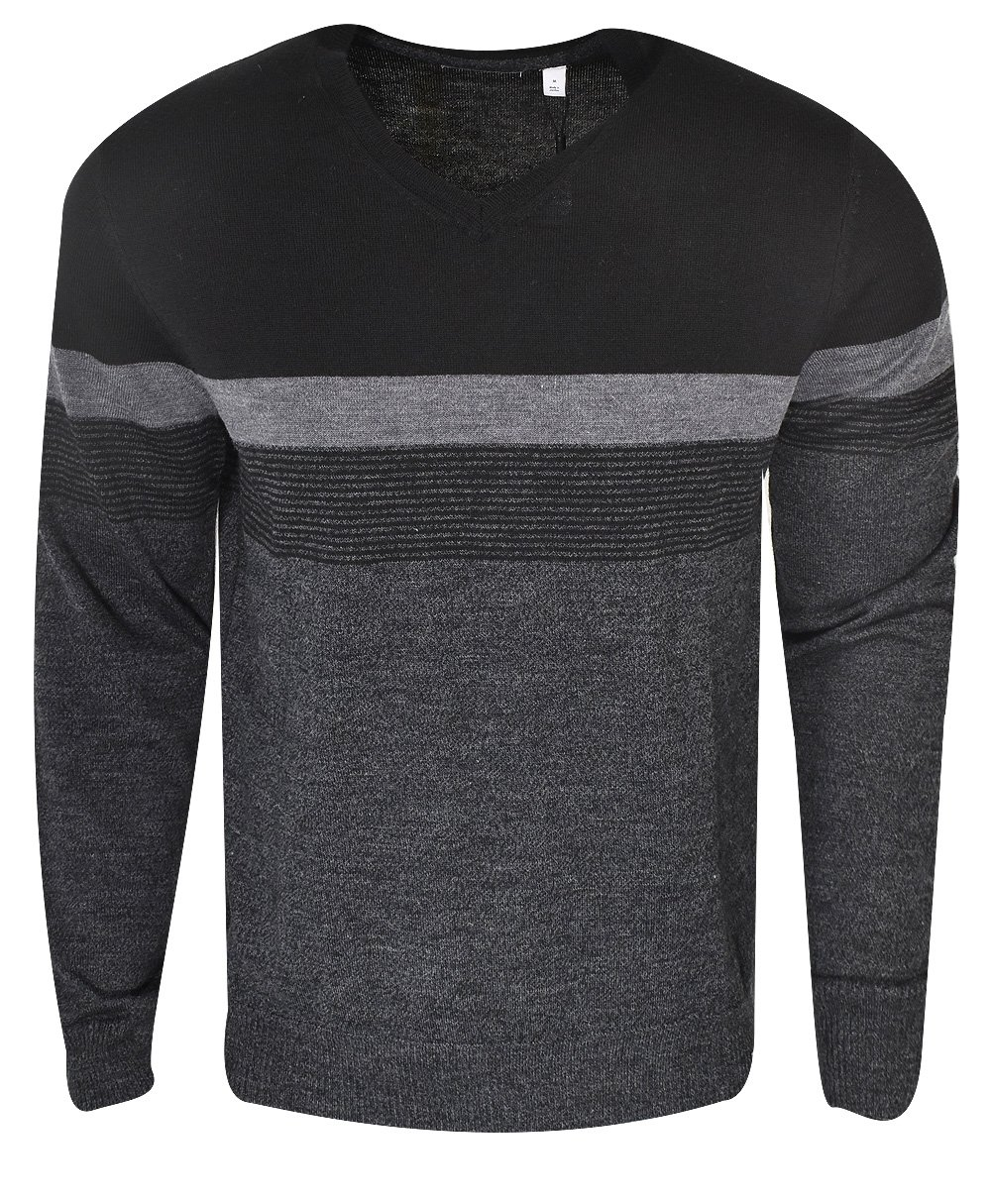 Calvin Klein Men's Merino V-Neck Sweater, Black Jack Combo, 2X-Large