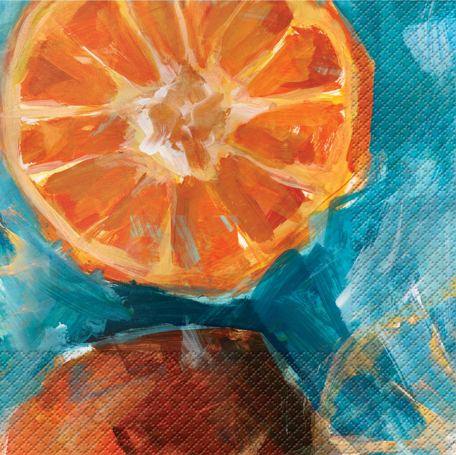 Orange 659360 Fruit Expressions Creative Converting 24 Count Elise Premium Patterned Beverage Napkins