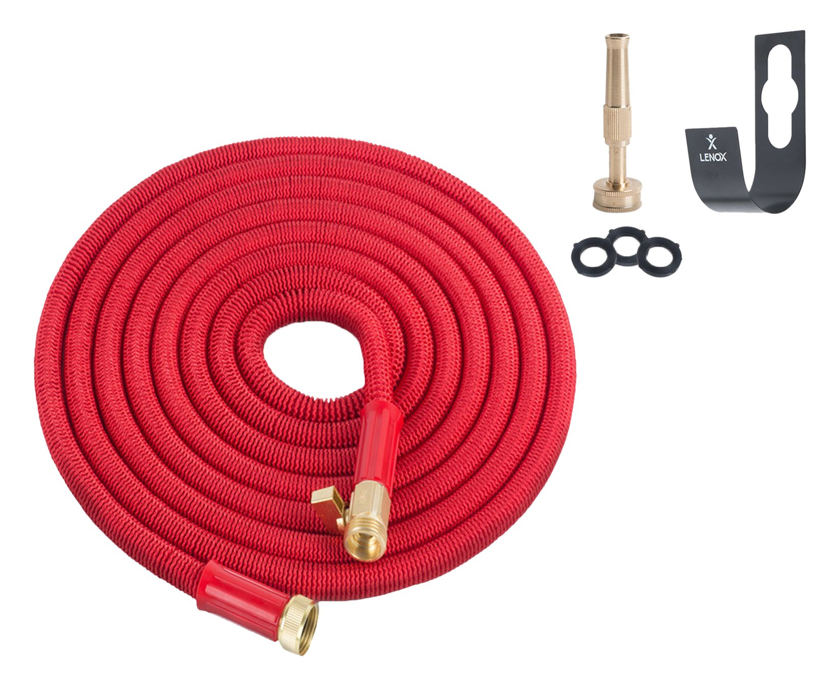 GARDEN FLOW Expandable 25' Hose Solid Brass On/Off Valve Connectors Bundle Includes Free Wall Mount, Brass Nozzle, Storage Bag and Washers
