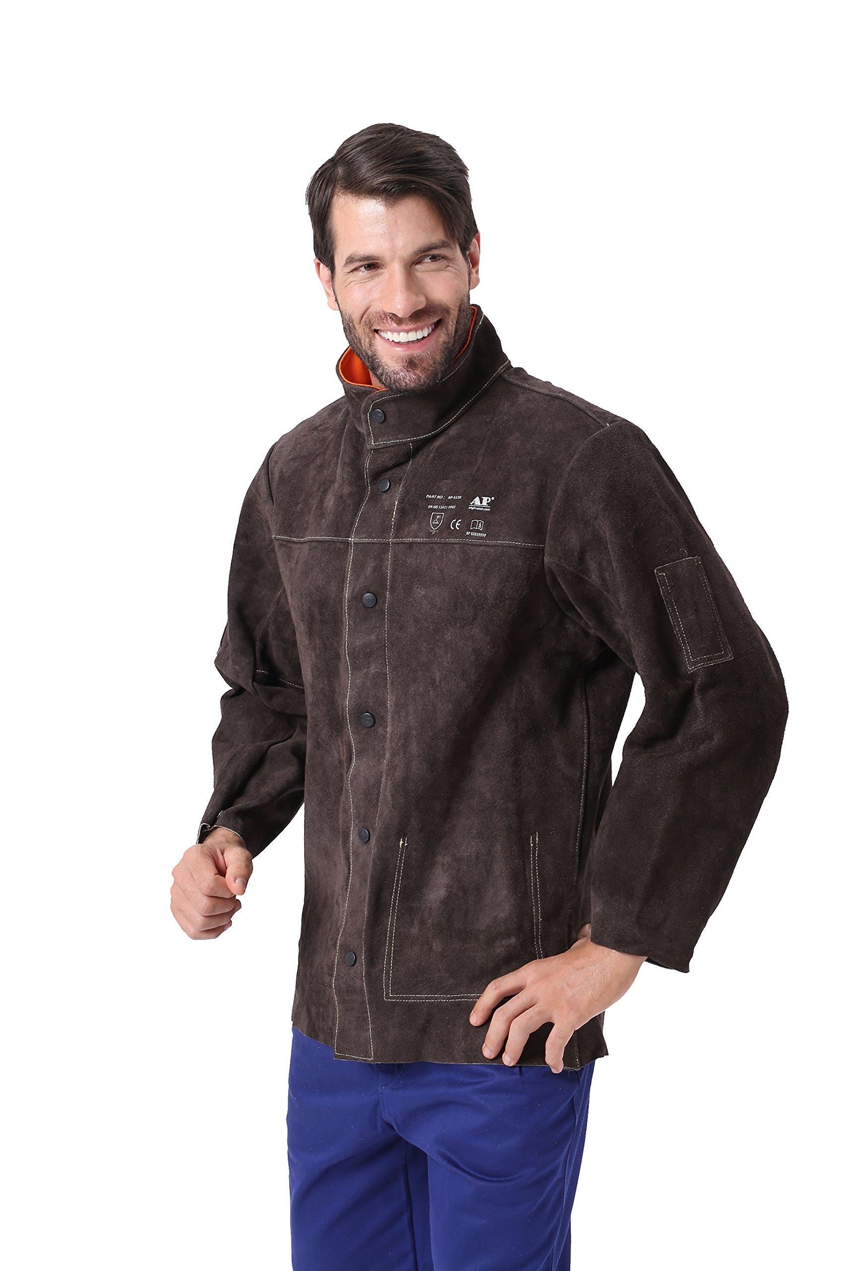 AP-5130 Brown colour split cow leather welding jacket with EN11611 CE certification - XL