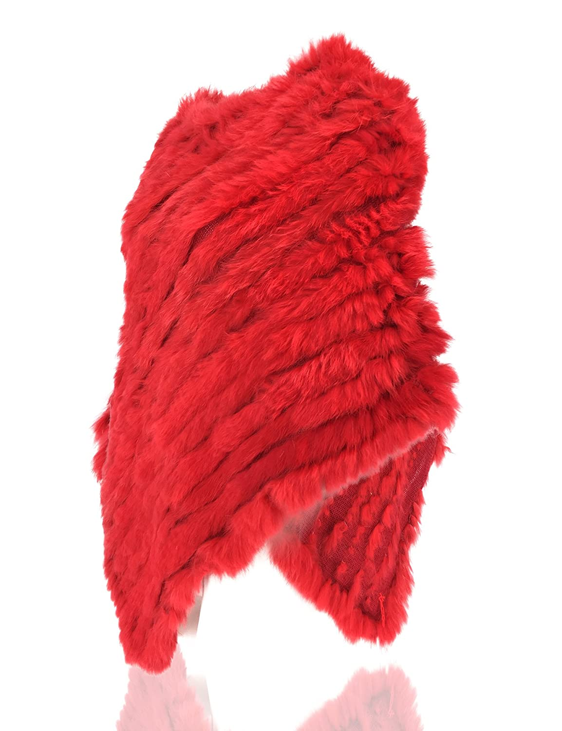 Uilor Womens Natural Rabbit Fur Knitted Shawl Length 73CM