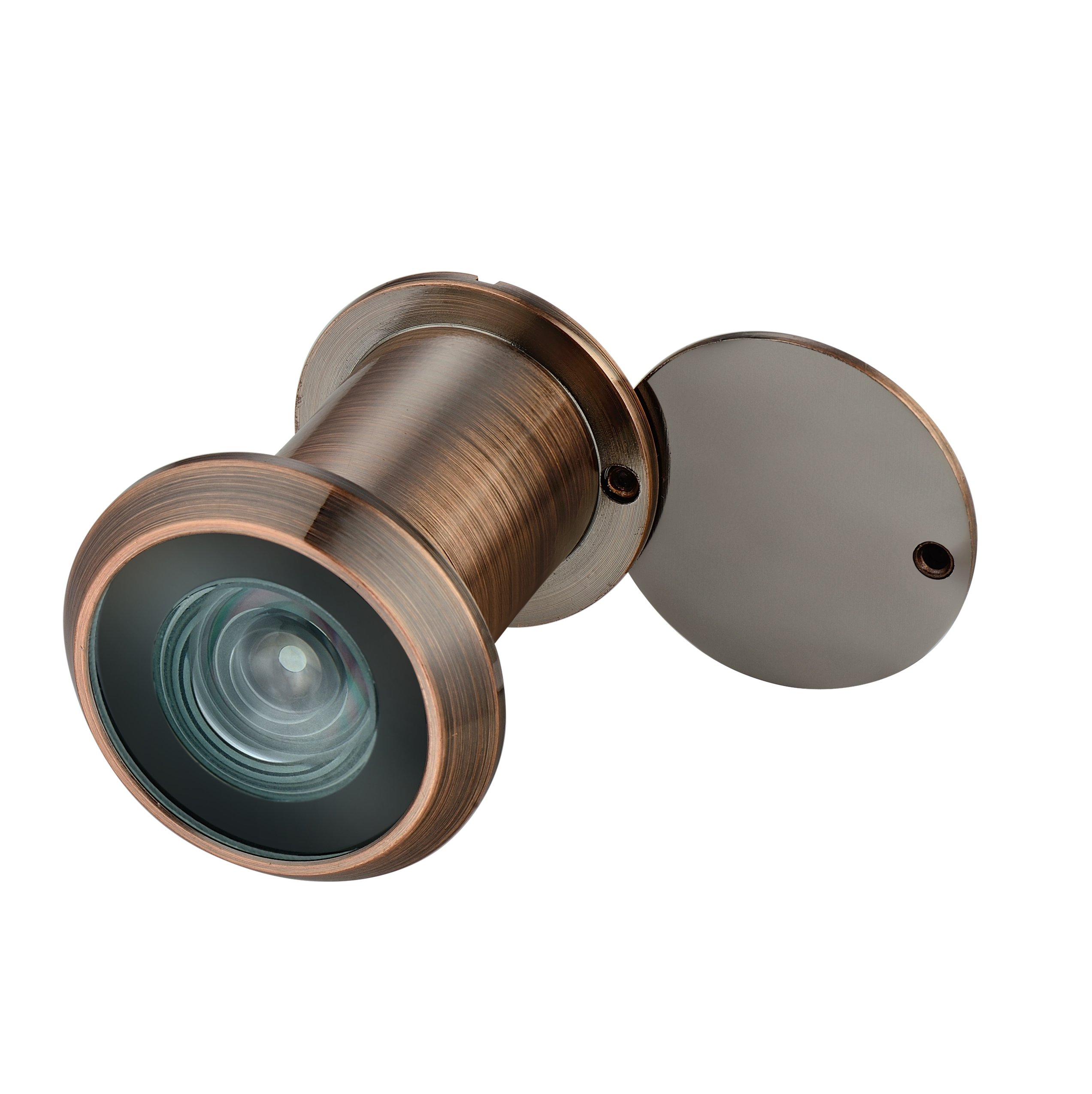 TOGU TG3522YG-AC Brass UL Listed 220-degree Door Viewer with Heavy Duty Privacy Cover for 1-3/8'' to 2-9/25'' Doors, Antique Copper Finish
